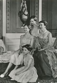 Queen Ingrid of Denmark with her three daughters, Danish royalty, photo, black and white, history, beloved