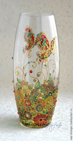 Stained glass painting – shop online on Livemaster with shipping - Stained Glass Paint, Stained Glass Patterns, Bottle Painting, Bottle Art, Diy Crafts Vases, Mosaic Glass, Glass Art, Glass Painting Designs, Painted Vases