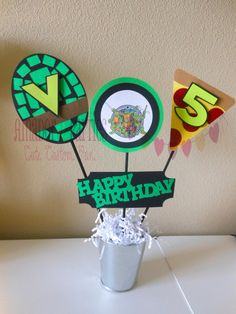 Birthday Centerpiece - could be adapted for any theme Turtle Birthday Parties, Ninja Turtle Birthday, Ninja Turtle Party, Ninja Turtles, Birthday Celebration, Ninja Turtle Centerpieces, Kids Party Centerpieces, Decorations, Little Girl Birthday