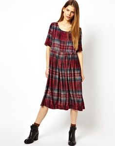 Image 1 of HOUSE OF HACKNEY for ASOS Midi Swing Dress in Plaid  Check