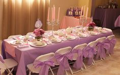 Beautifully decorated table at a Sofia the First party!   See more party ideas at CatchMyParty.com!  #partyideas #sofiathefirst