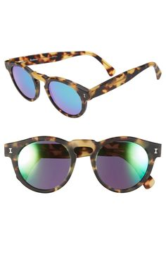 Illesteva 'Leonard' 47mm Mirrored Sunglasses, Color: Matte Tortoise
