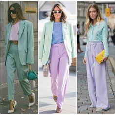 ¡Pasteles! Rosa, verde aqua, lila y celeste en looks monocromáticos o en bloques de colores es parte de lo que se viene para la nueva… Verde Aqua, Harem Pants, Suits, Fashion, Colors, Pink Cakes, Green Rose, Lilac, Moda