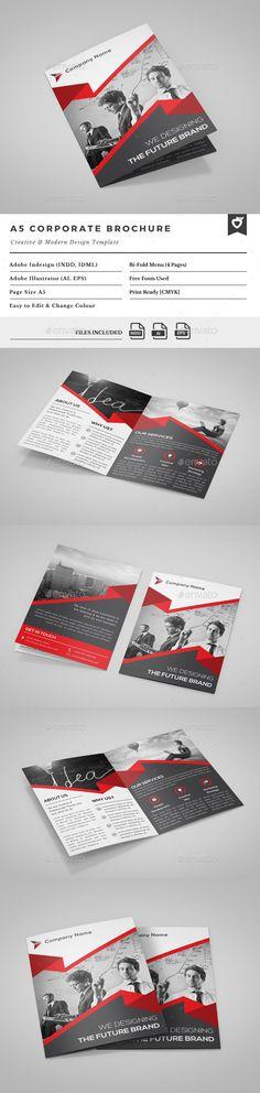 A5 Bi-Fold Brochure  —  EPS Template • Download ➝…