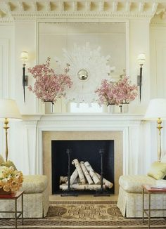 paint inside of fireplace black, add birch logs for decoration