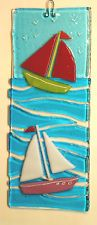 FUSED GLASS PICTURE, SAILING BOATS WITH HOOK FOR HANGING