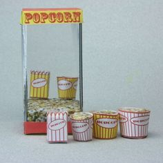 Popcorn Machine and Printable Popcorn Containers in Dollhouse Scales