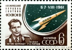 Soviet stamp for Vostok 2 mission, 1961.