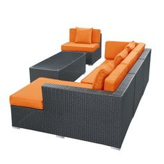 5-piece Espresso Patio Sectional Set - Overstock™ Shopping - Big Discounts on Modway Sofas, Chairs & Sectionals