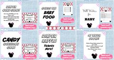 Minnie Mouse baby shower games!! diaper cake game, guess the baby food, well wishes for baby, candy guessing game, diaper raffle, my water broke! and many more. So easy, buy the file. print, cut and play!! #disneybabyshower #minniemousebabyshower #printablebabyshowergames