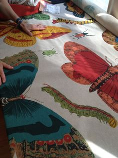 """8/20/13 - Home Dec - humongous scale butterfly print on natural cotton - silkscreened in India - $65.00 - 56"""" wide"""