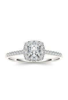 3/8 carat certified diamond cushion halo 14K white gold engagement ring, $798, In Love by BRIDES available at Walmart