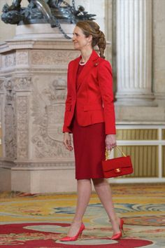 Infanta Elena of Spain at the Royal Palace for dinner in Madrid for the International Olympic Team on 20 March