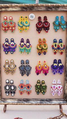 Fabric Jewelry, Wire Jewelry, Bridal Jewelry, Beaded Jewelry, Soutache Earrings, Diy Earrings, Earrings Handmade, Bead Embroidery Tutorial, Beaded Embroidery