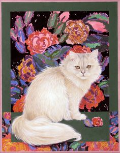 Rose's cat and the art deco roses by Lesley Anne Ivory
