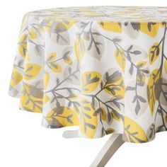 Good Leaf Print Round Tablecloth   Yellow And Light Charcoal