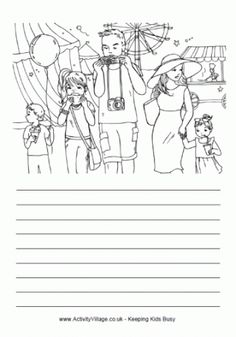 At the funfair story paper Detailed Coloring Pages, Cool Coloring Pages, Writing Lines, Cool Writing, English Worksheets For Kids, School Worksheets, Picture Comprehension, Reading Comprehension, Teaching Writing
