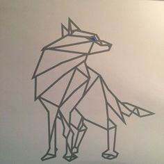 Wolf made of grey and blue masking tape. Washi tape - wall art