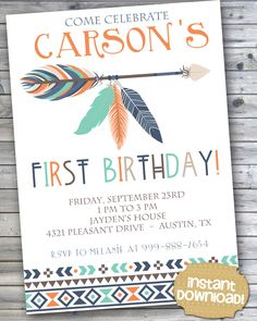 INSTANT DOWNLOAD - Orange Navy Mint Tribal First Birthday - First Birthday Pow Wow Boho Aztec Invitation - Navy and Orange First Birthday