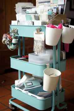 The rather shabby chic IKEA Raskog is perfect for planning, card-making or scrapbooking supplies.