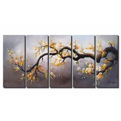 5-Piece Plum Tree Painting...great for large wall under covered terrace...