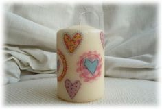 Candle hand decorated with  Hearts. £4.85