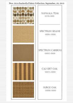 New Sunbrella fabric collection featuring Mankala Teak, Spectrum Sesame, Spectrum Caribou, Calvert Oak, and Surge Oak. Cushion Source, Sunbrella Fabric, Fabric Samples, Outdoor Fabric, Spectrum, Teak, Designers, Fabrics, Cushions
