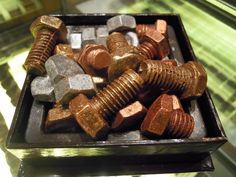 These bolts are not made of metal, but rather rich, decadent chocolate! (From @Mandarin Oriental Hotel Group #HongKong)