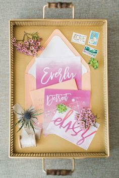 Pink pastel wedding invitation suite - A Watercolor Style Shoot in Detroit | WeddingDay Magazine