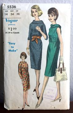 "1960's Vogue One-Piece Sheath Dress with Wide Collar - Bust 34"" - No. 5536 by backroomfinds on Etsy"
