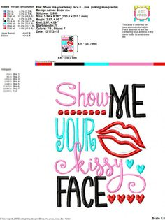 Embroidery design 5x7 6x10 Show me your Kissy by SoCuteAppliques