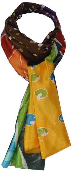 imagem com nó                     imagem da echarpe aberta             Echarpe de Seda Azul e Ocre   pintada a mão batik...
