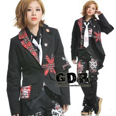 FreeShip X GOTHIC PUNK VISUAL KEI Lolita 71218 BLACK SUIT JACKET S-L