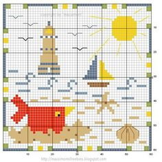 Cross-stitch Birdie Beach Biscornu... no color chart available, just use the pattern chart as your color guide.. or choose your own colors...   Gallery.ru / Фото #54 - Freebies - Syberia