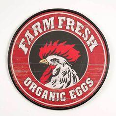 Farmhouse Farm Fresh Organic Eggs Retro Vintage Wood Sign/Plaque,20''D, #Unbranded #Farmhouse