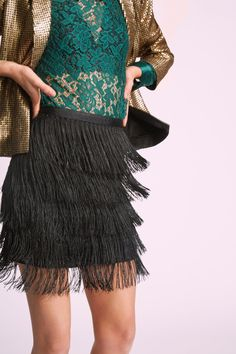 Sass Times Acceleration Fringe Mini Skirt - Let this black mini skirt from Jack by BB Dakota be the driving force of your special occasion wardrobe! Fringed from waistline to hem, this fun number shows no sign of slowing down its personality as you make your way from champagne toasts to the dance floor.