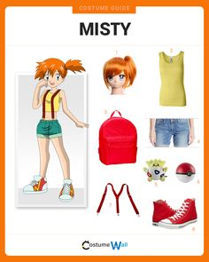 Dress Like Misty Dress like Misty from the popular TV show and video game, Pokemon. Get cosplay inspiration and more Misty costume ideas. Ash Pokemon, Misty Pokemon, Red Head Halloween Costumes, Cool Costumes, Costume Ideas, Cosplay Ideas, Cosplay Costumes, Ash Costume, Video Game Costumes