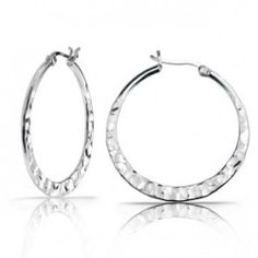 Bling Jewelry Sterling Silver Hammered Hoop Earrings 1.5in
