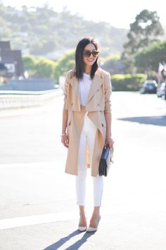 White t-shirt, white cropped skinny jeans, trench coat, white high heels