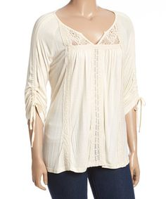 Another great find on #zulily! Ivory Crochet-Accent Notch Neck Top - Plus #zulilyfinds