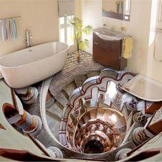 Ванные комнаты с иллюзией провалов в полу: идеи 1