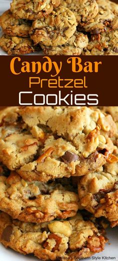 Candy Bar Pretzel Cookies cookies candy cookierecipes sweets salty cookieswap holidaybaking holidays easter halloween christmas thanksgiving partyfoods desserts dessertfoodrecipes reci is part of Pret - Brownie Cookies, Chocolate Chip Cookies, Pretzel Cookies, Peanut Butter Cookies, Yummy Cookies, Candy Cookies, Cookie Bars, Heath Bar Cookies, Heart Cookies