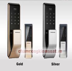 khoá cửa điện tử samsung màu bạc và gold