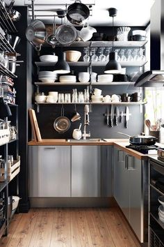 how great would a stainless steel pantry be for a cottage kitchen! Neat Petite - Kitchen Design Ideas & Pictures – Decorating Ideas (houseandgarden.co.uk)