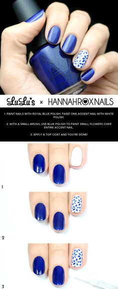 Mani Monday: White and Blue Floral Nail Tutorial at LuLus.com!