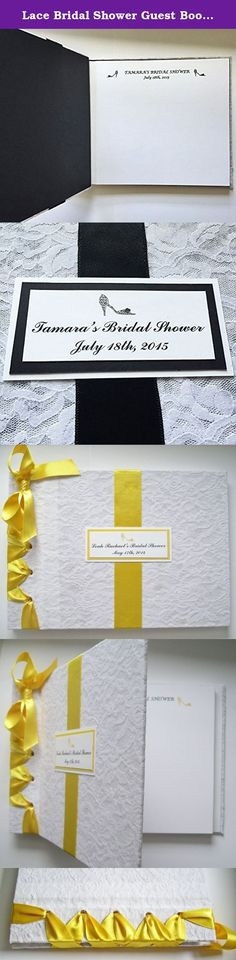 Lace Bridal Shower Guest Book, Black + White Wedding Guestbook, Vintage Lace Guestbook and Pen (Custom Colors Available). Custom vintage romantic bridal wedding guestbook covered in white cotton lace fabric with color satin ribbon and cardstock accented to match your color scheme, is a fun and different style for the bride-to-be before her big day to display well wishes from family and friends and insert photos from the event. The theme of the guestbook in the photograph above is…