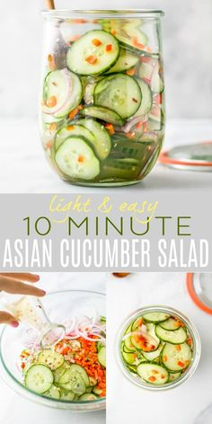 10 Minute Asian Cucumber Salad Recipe made with crunchy cucumber onion rice wine vinegar and a few secret ingredients! An easy Cucumber Salad that's guaranteed to be a hit. Light refreshing and super flavorful - makes the perfect side dish or condiment. Asian Cucumber Salad, Cucumber Recipes, Veggie Recipes, Vegetarian Recipes, Cooking Recipes, Recipes Dinner, Cucumber Juice, Vegetarian Salad, Recipes With Cucumbers