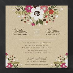 Charming and colorful posies create an open frame for your wording on this fanciful invitation.