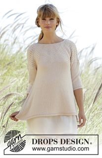 """Dune - Knitted DROPS jumper with round yoke and wave pattern in """"BabyAlpaca Silk"""". Worked top down. Size: S - XXXL. - Free pattern by DROPS Design"""