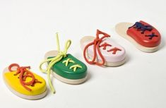 Wooden toy, lacing shoe, toy for fine motor, Montessori toy on Etsy, $9.00